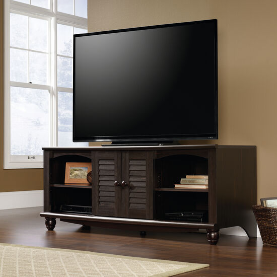 Louvered Doors Transitional Entertainment Credenza in Dark Brown
