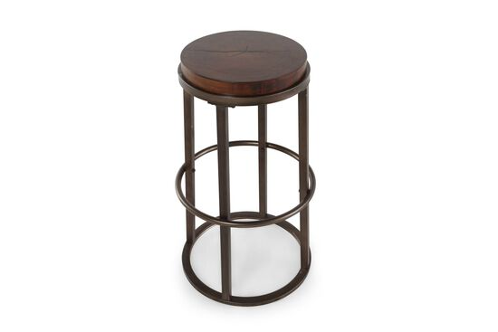 Backless Pair of Bar Stools in Brown