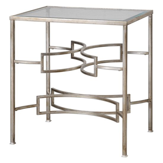 Opposing Hand Forged Stretchers End Table in Silver