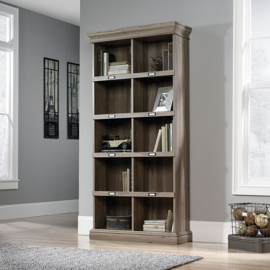 Transitional Tall Open Bookcase in Salt Oak