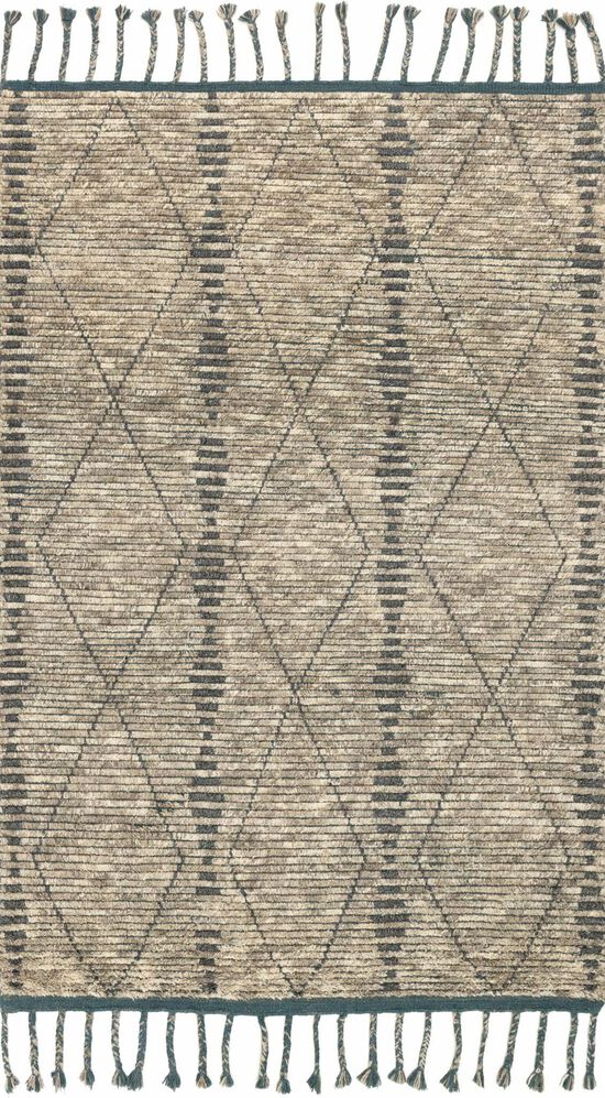"""Transitional 1'-6""""x1'-6"""" Square Rug in Stone/Blue"""