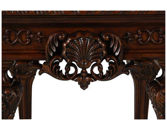 Rectangular Carved Formal End Tablein Medium Brown