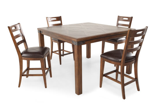 Five-Piece Traditional 54'' Pub Set in Medium Brown