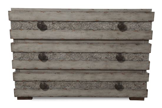 34'' Traditional Scrolled Drawer Chest in Gray