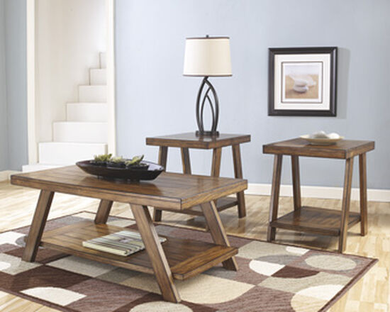 Three-Piece Rustic Farm House Accent Table Set in Light Brown