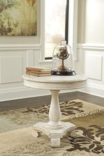 Casual Round Pedestal Table in Vintage White