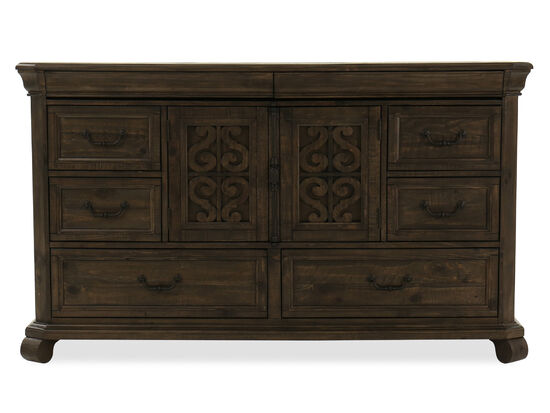 Two-Piece Solid Pine Scroll Carved Dresser in Dark Brown