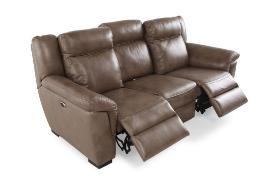 "Contemporary 88"" Power Reclining Sofa in Nutmeg Brown"