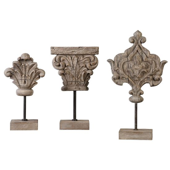 Three-Piece Carved Sculptures in Ivory Gray