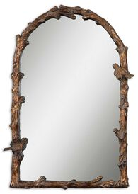 """37"""" Arched Accent Mirror in Distressed Antiqued Gold Leaf"""