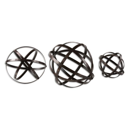 Three-Piece Orbital Spheres in Aged Bronze