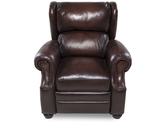 """Nailhead-Trimmed Traditional Leather 37"""" Recliner in Brown"""