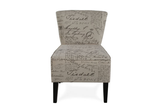 "Script Printed Contemporary 22"" Accent Chair"