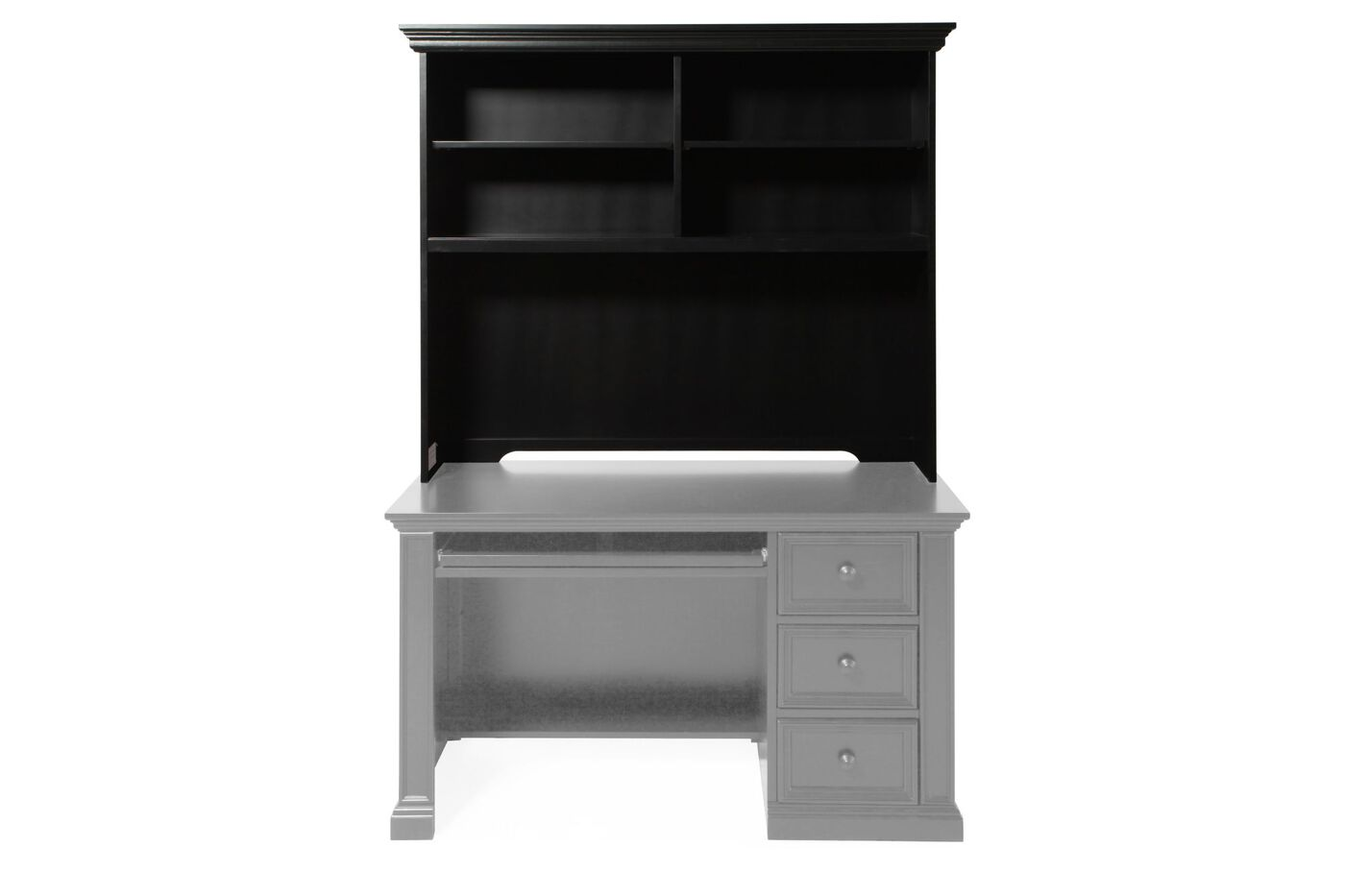 Four Shelf Casual Youth Desk Hutch In Matte Ebony Mathis Brothers