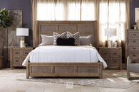 Paneled Contemporary Queen Sleigh Bed in Brown