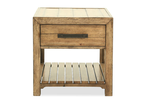 One-Drawer Casual End Table in Medium Pecan
