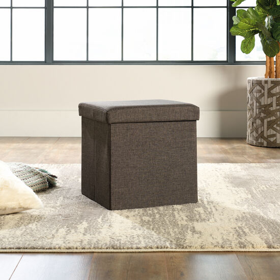 """Traditional 15"""" Storage Ottoman in Gray"""