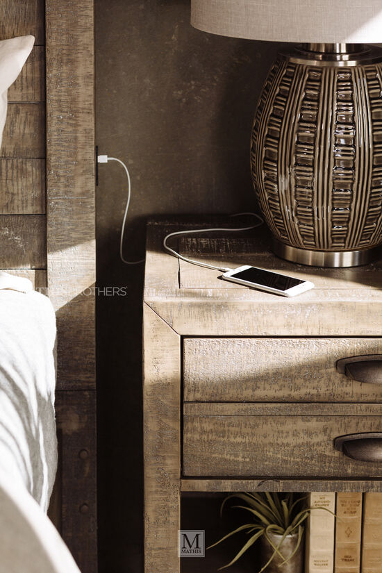 """58"""" Solid Radiata Planked Storage Bed with USB Port in River Rock"""