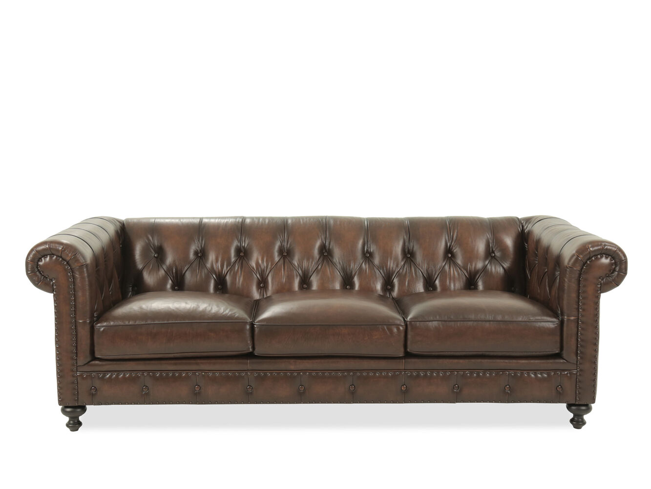 Leather Button Tufted 92 5 Sofa In Dark Brown Mathis