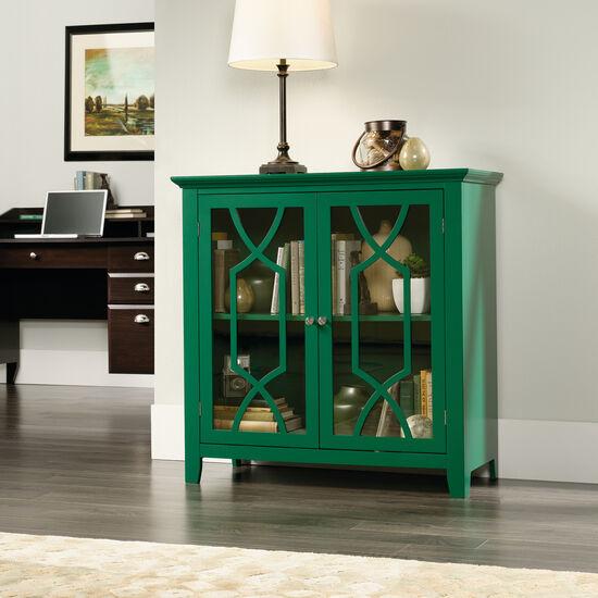 36'' Geometric Doors Contemporary Display Cabinet in Emerald Green