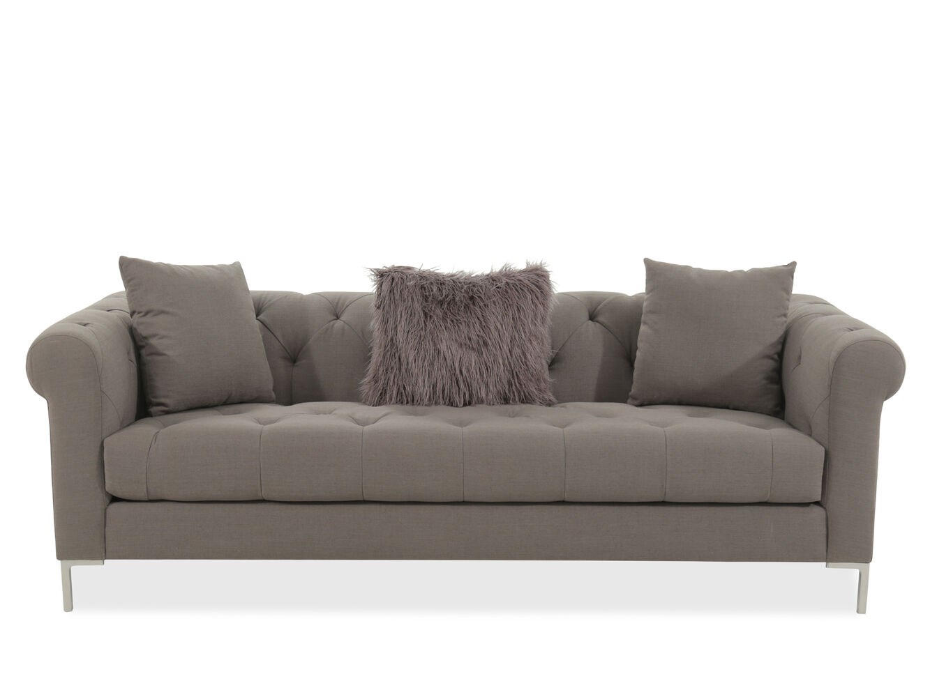 Transitional tufted 40 sofa in gray mathis brothers furniture for Mathis brothers living room furniture