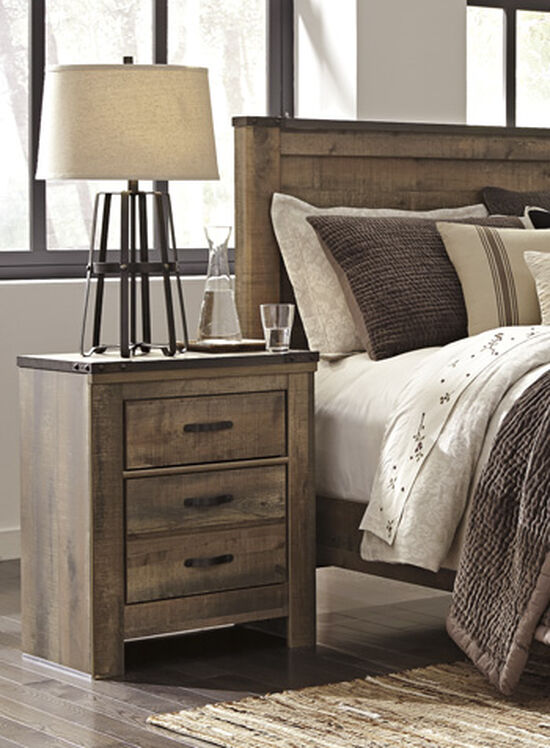 Casual Planked Two-Drawer Youth Nightstand in Brown