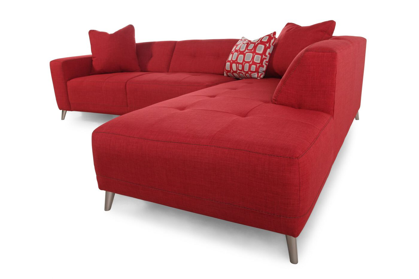 Two Piece Contemporary 110 Sectional In Red Mathis Brothers Furniture