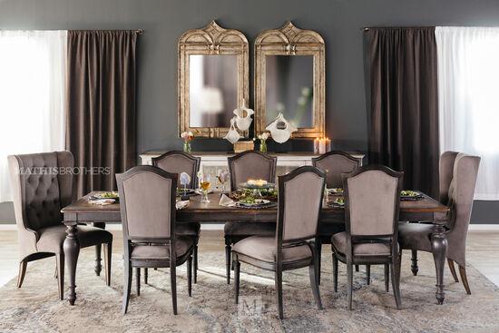 "European Classic 44"" to 120"" Rectangular Dining Table in Dark Gray"