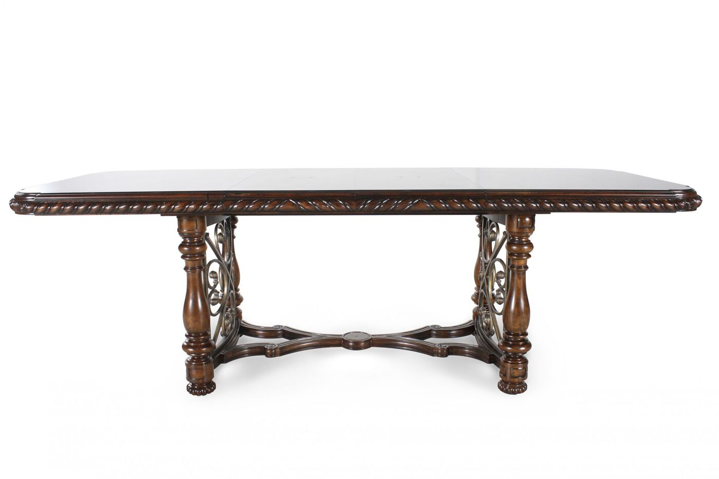 76 turned leg traditional dining table in dark brown for Traditional dining table