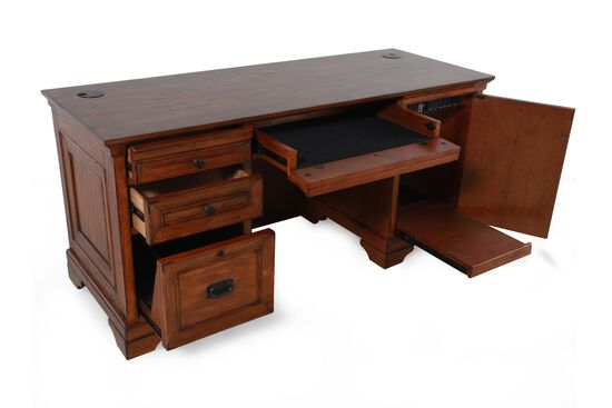 """67"""" Country Three-Drawer Computer Credenza in Oak"""