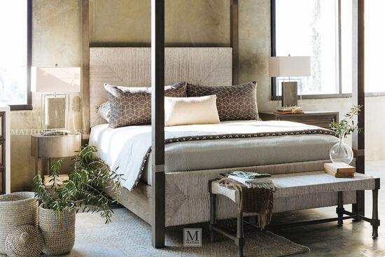 "90"" Contemporary Woven Panel Canopy Bed in Brown"