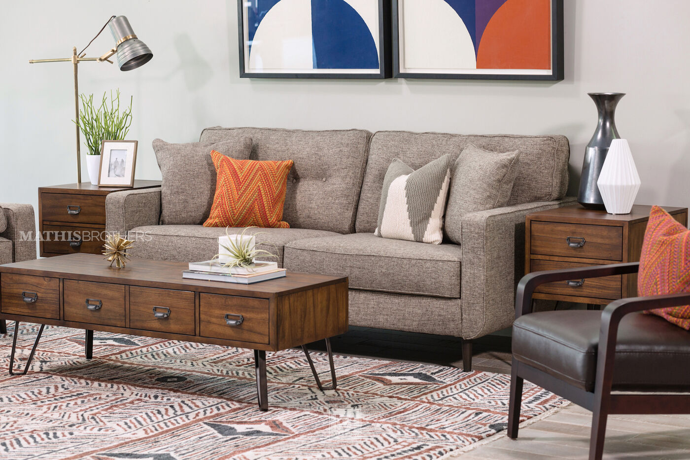 Modern button tufted 79 sofa in jute mathis brothers for Modern furniture sites