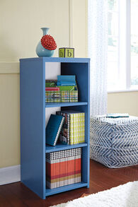 Adjustable Shelve Contemporary Bookcase in Blue