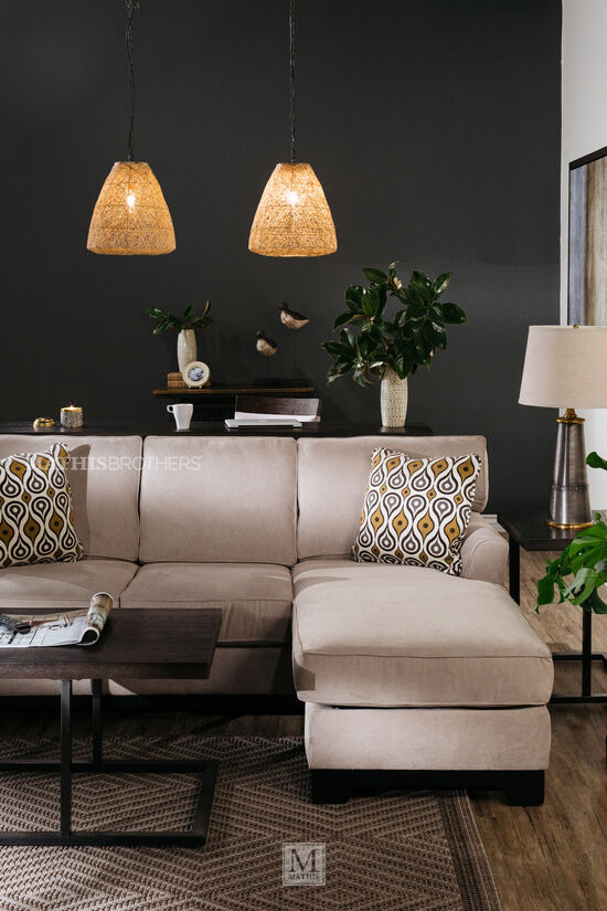 "Two-Piece Traditional 31"" Sectional in Beige"