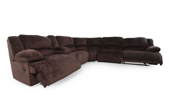 "Microfiber 131.5"" Sectional in Chocolate Brown"
