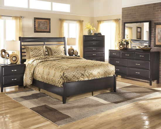 four piece contemporary bedroom set in onyx mathis brothers furniture. Black Bedroom Furniture Sets. Home Design Ideas