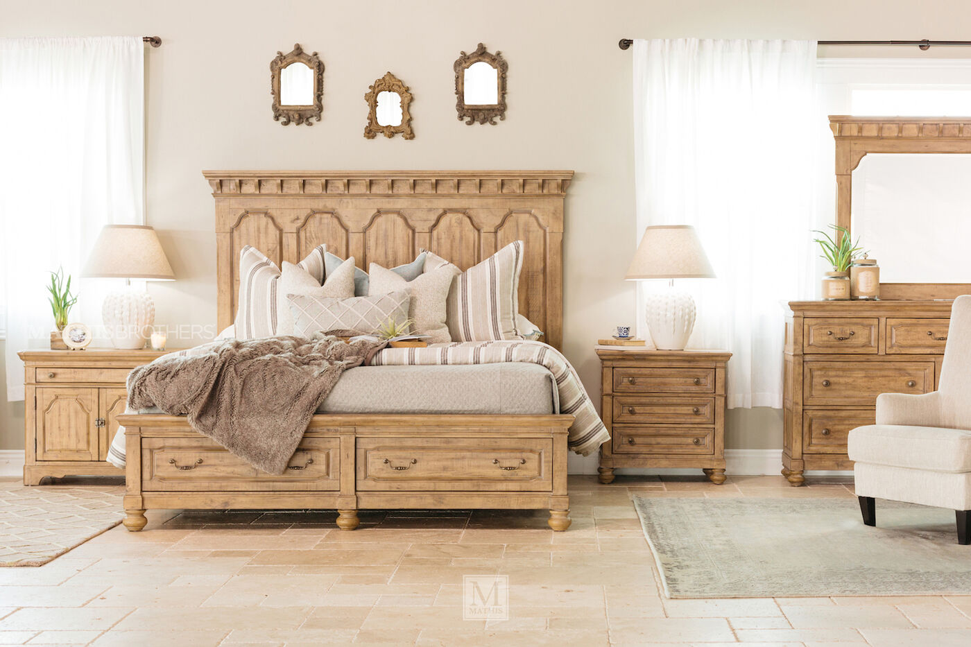 Four-Piece Traditional Bedroom Set in Brown | Mathis Brothers ...