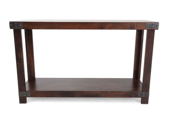 Nailhead Accented Contemporary Console Table in Fruitwood