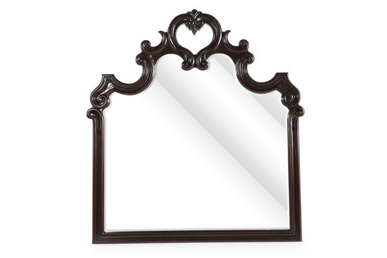 "50"" Traditional Scrolled Mirror in Dark Brown Sella"