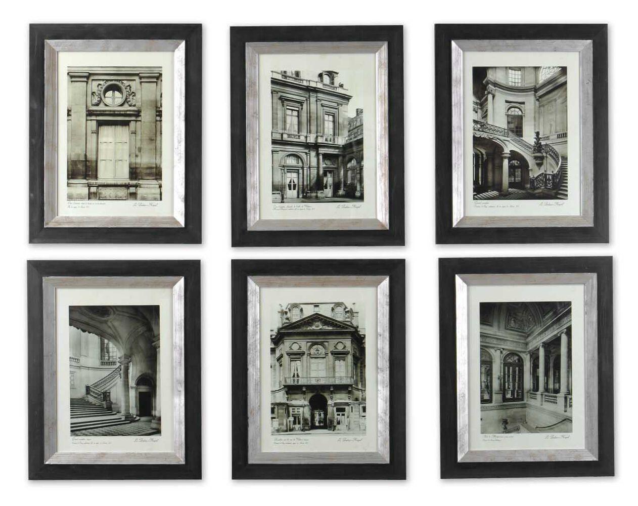 Six piece framed paris scene monotone wall art set for Wall art and decor
