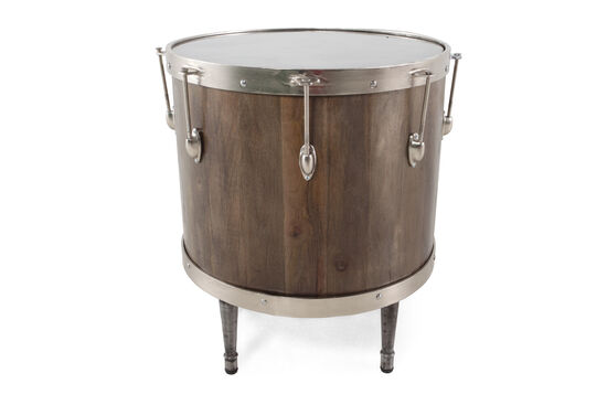 Contemporary Drum Accent Table in Nutty Brown