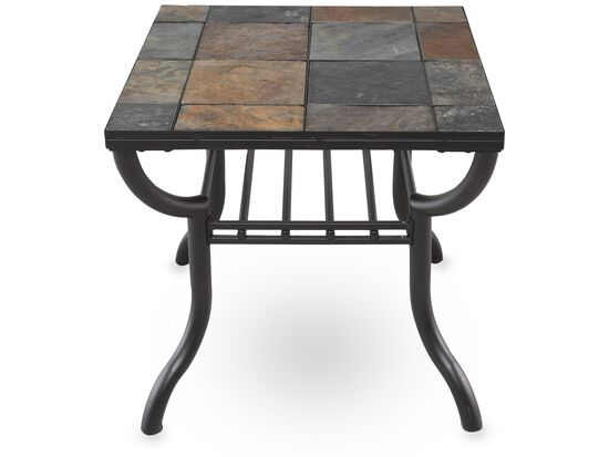Square Slate Tiled Contemporary End Tablein Gunmetal