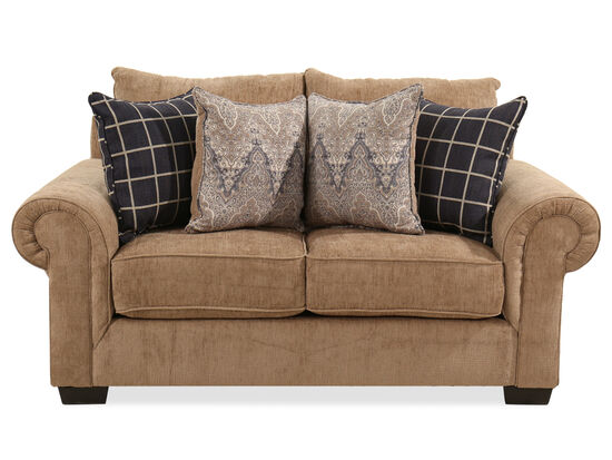 "71"" Transitional Loveseat in Brown"