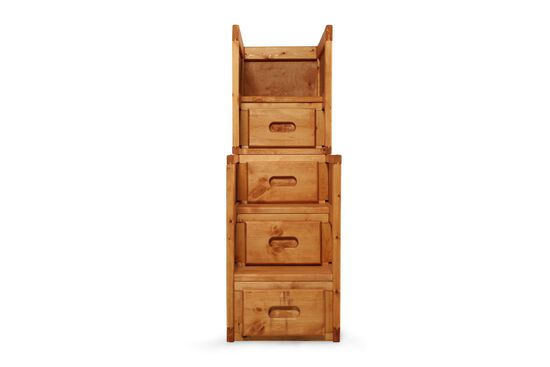 Four-Drawer Solid Pine Stairway Chest in Cinnamon
