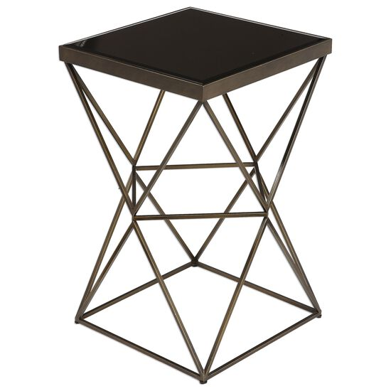 Caged Frame Beveled Top Accent Table in Antique Bronze