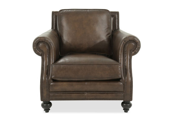 """Nailhead-Trimmed Contemporary 30.5"""" Chair in Brown"""