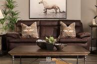 "86"" Power Reclining Microfiber Sofa in Brown"