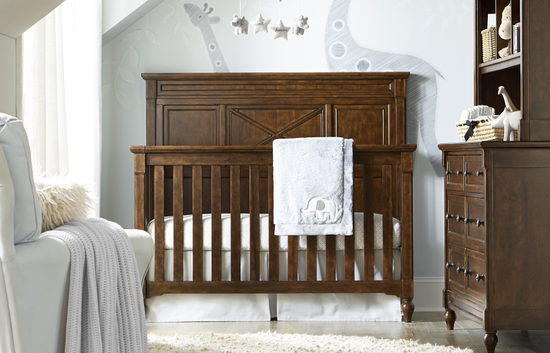 Paneled Convertible Crib in Dark Brown