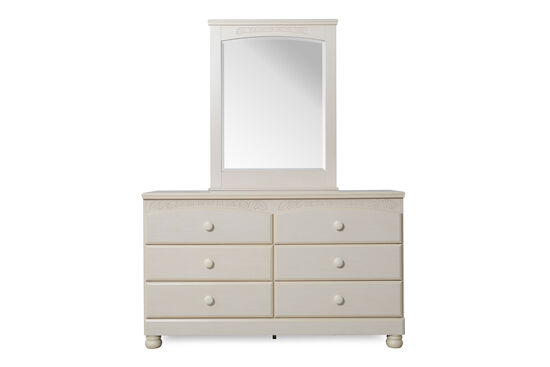Two-Piece Casual Leaf Carved Dresser and Mirror in White