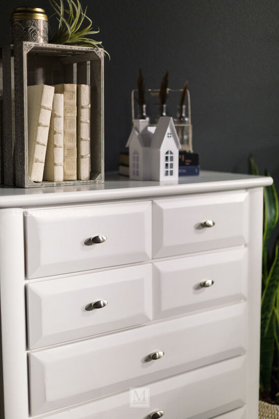 Eight-Drawer Solid Pine Chest in White